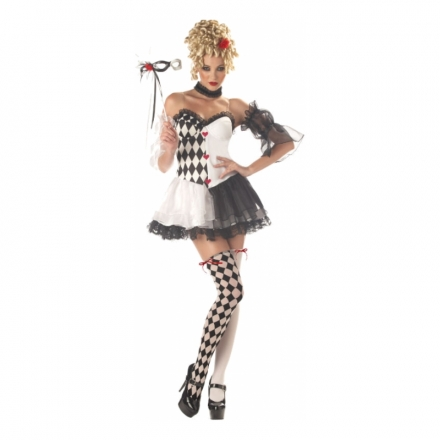 Sexig Harlequin Clown Maskeraddräkt - Maskeradkalaset 826fcfa282466
